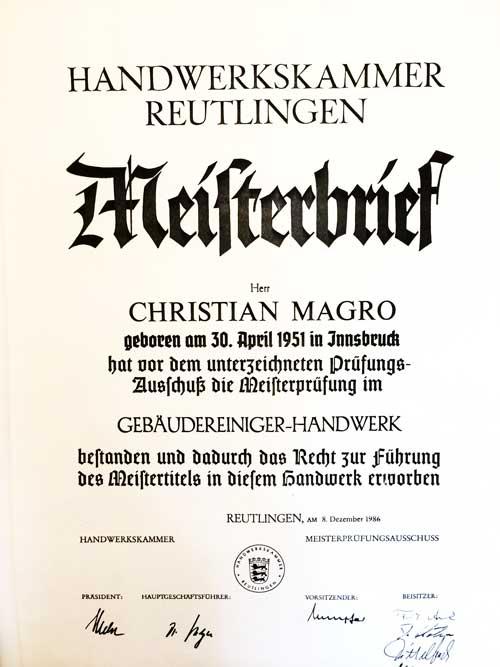 Meisterbrief für Gebäudereiniger-Handwerk der Handwerkskammer Reutlingen