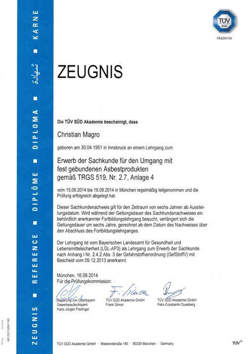 Zeugnis TÜV-TRGS-519-4 Erwerb der Sachkunde für den Umgang mit Asbestprodukten