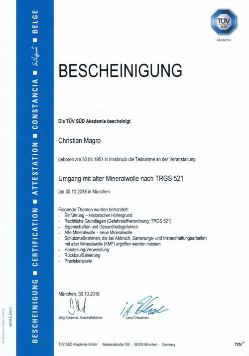 Zertifizierung-TÜV-TRGS-521