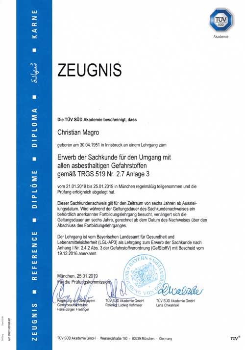 Zeugnis TÜV-TRGS-519-3 Erwerb der Sachkunde für den Umgang mit asbesthaltigen Gefahrstoffen